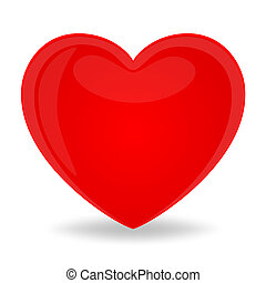 One red heart, isolated on white