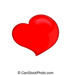 One red heart, isolated on white background (vector illustration)