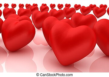 One red heart standing out in crowd