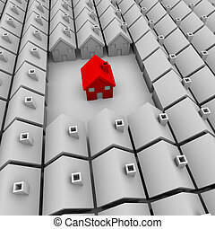 One Red House Stands Alone - A single red house stands apart...