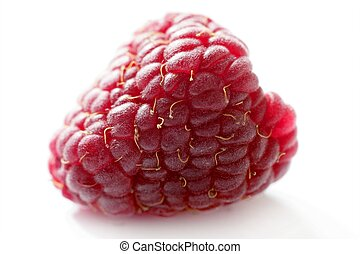 one red macro raspberry over white background