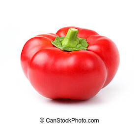 red pepper on white - one red pepper on white background