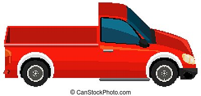 One red pick-up truck on white background
