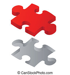 One red puzzle isolated