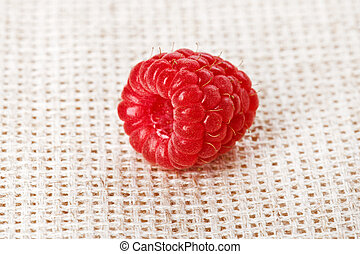 One red ripe raspberry fruit, on gray linen table cloth, ...