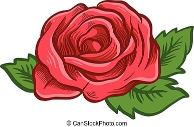 One red rose. Vector illustration