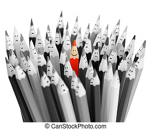 One red smiling pencil among bunch of gray sad pencils