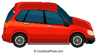 One red SUV car on white background