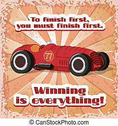 One retro sport car postcard
