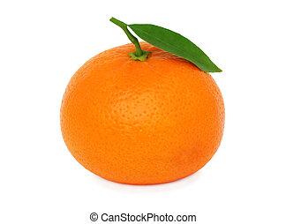 One ripe mandarin with leaf (isolated) - One ripe mandarin...