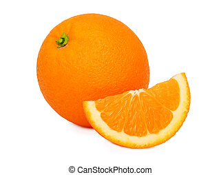 One ripe orange and slice (isolated)