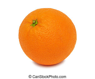 One ripe orange (isolated)