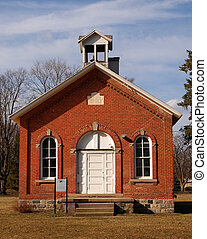 One room schoolhouse front view - One-room schoolhouse,...