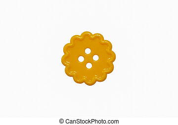 one round curl yellow sewing button four holes