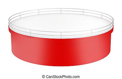 One round red shelf. isolated on white background.