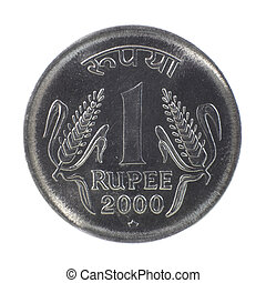 One rupee coin - Shiny one rupee coin on white background