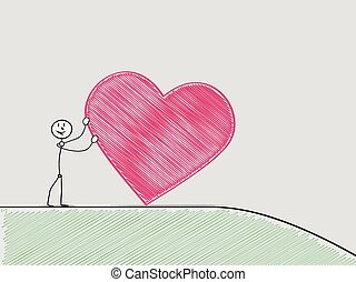 man rolling a heart from hill