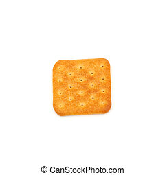 one salty cracker flat on white background