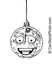 one scratch animated black and whiite round ornament for Christm
