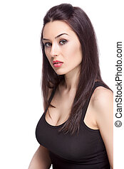 One sexy feminine woman isolated on white background