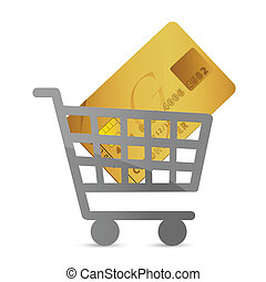 shopping cart with a credit card