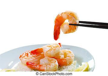 one Shrimp on a chop stick - isolated Shrimp on a chop stick...