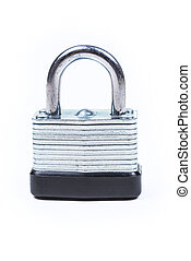 One silver padlock isolated on white background