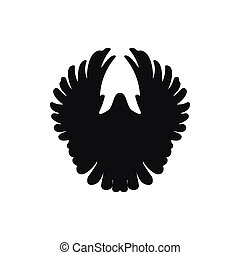 one simple black front dove pigeon silhouette