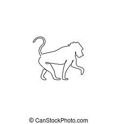 One single line drawing of baboon for company business logo identity. Primate animal mascot concept for corporate icon. Trendy continuous line draw design graphic vector illustration