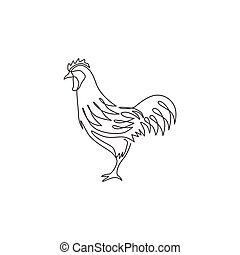 One single line drawing of rooster animal for company business logo identity. Cock bird mascot concept for farming icon. Trendy continuous line draw vector graphic design illustration