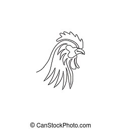 One single line drawing of rooster animal for company business logo identity. Cock bird mascot concept for farming icon. Modern continuous line draw graphic vector design illustration