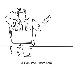 One single line drawing of young confused businessman sitting on the chair and watching bad sales performance data on his laptop. Business risk concept continuous line draw design vector illustration