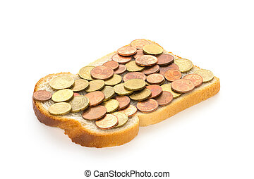 One slice of bread with euro mix spread