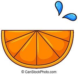 One slice of orange on white background