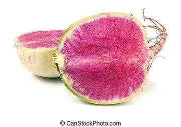 one sliced watermelon radish isolated on white background