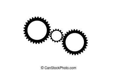 One small and large gears spinning . White background. Alpha...