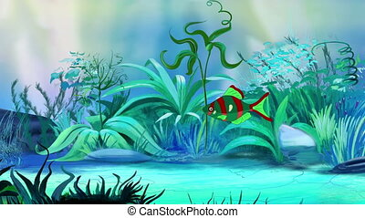 One Small Red-green aquarium fish in a tank - One Small...