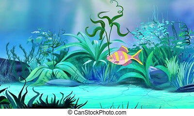 One Small Rose-yellow striped aquarium fish in a tank - One...