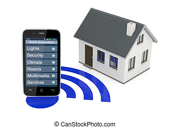 home automation - one smartphone with an home automation app...