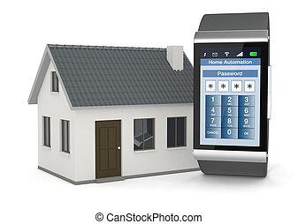 home automation - one smartwatch with an home automation app...