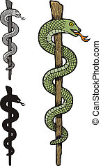 One snake caduceus - Illustration of three versions of one...