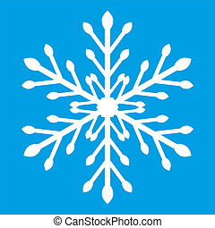 One snowflake on a blue background