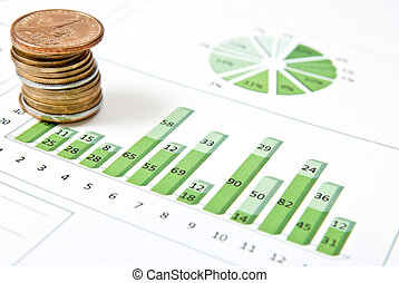 One stack of coins and green chart