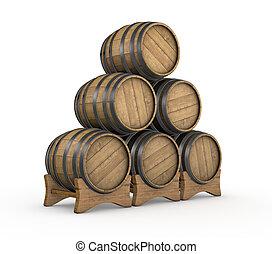 wooden barrels - one stack of wooden barrels (3d render)