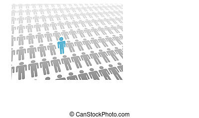 One stand up person in world of lay down people