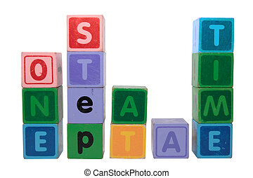 one step at a time in toy blocks - toy letters that spell ...