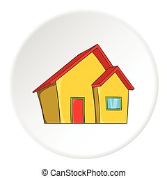 One storey house icon, cartoon style