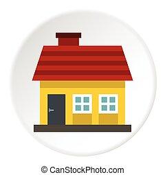 One storey house icon, flat style