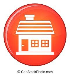 One-storey house icon, flat style