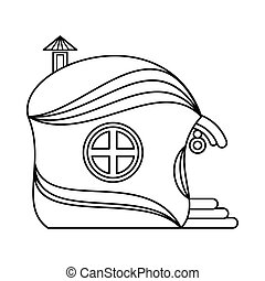 One storey house icon, outline style
